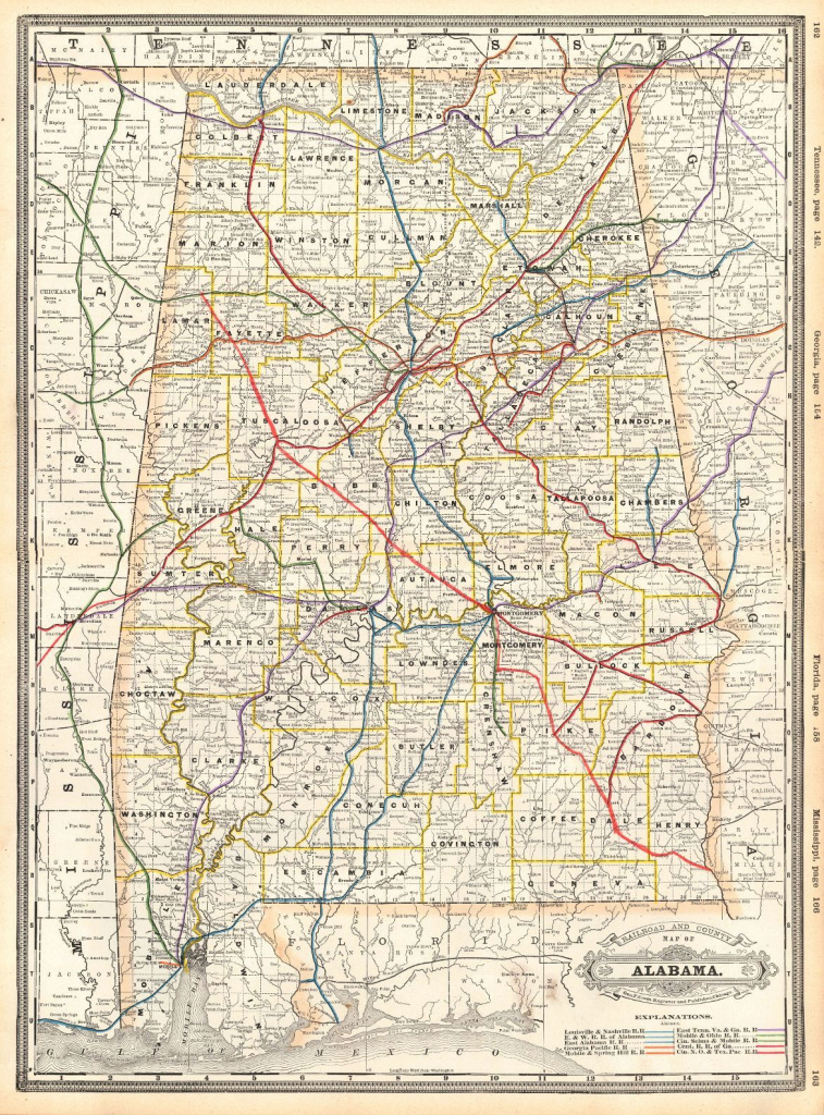 New Railroad And County Map Of Alabama. Geo. F. Cram. 1889. Detailed in Alabama State Railroad Map