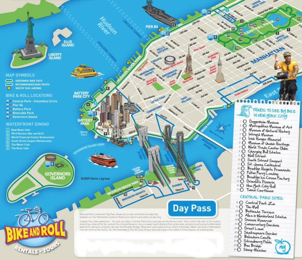 New York City Bike And Roll Map - New York City Vacations Inc., New intended for New York State Landmarks Map