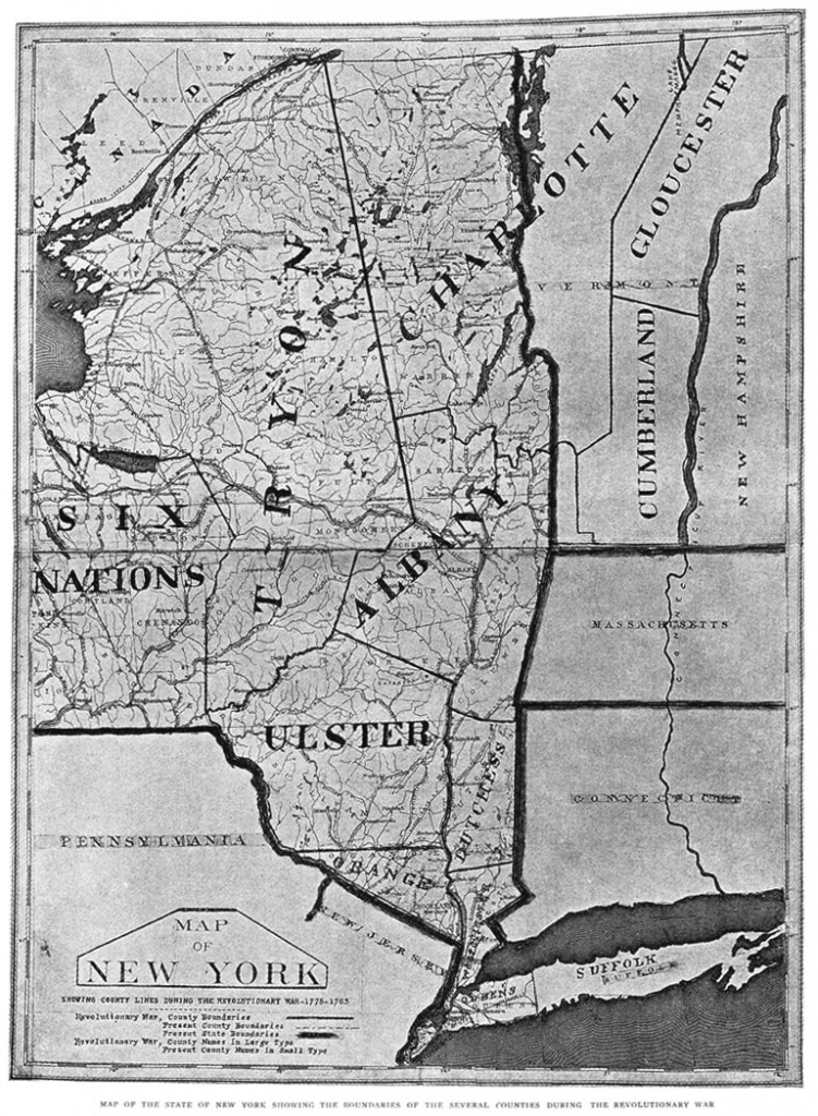 New York Map, 1775 with New York State Revolutionary War Map