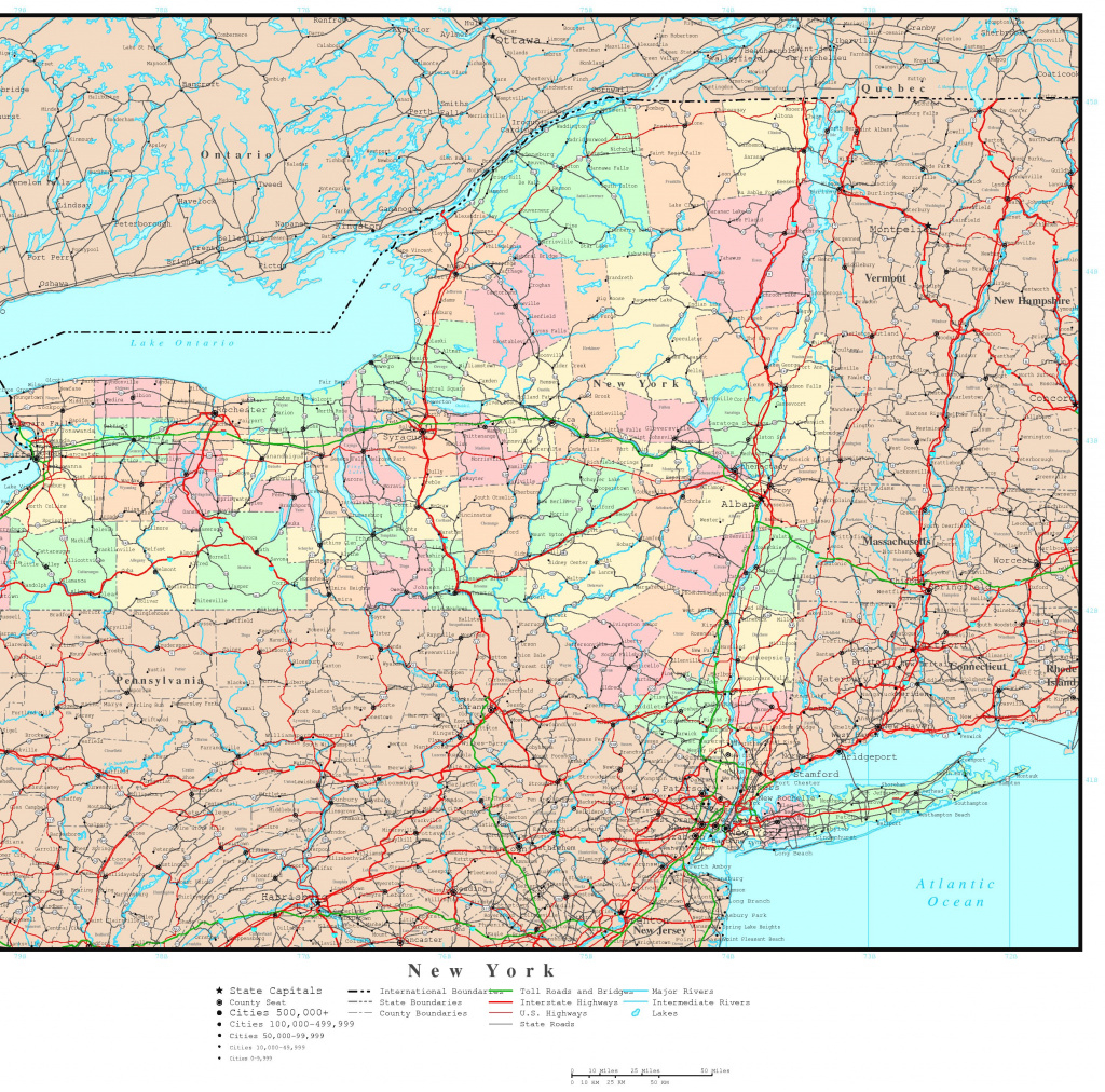 New York Political Map pertaining to Printable Map Of New York State