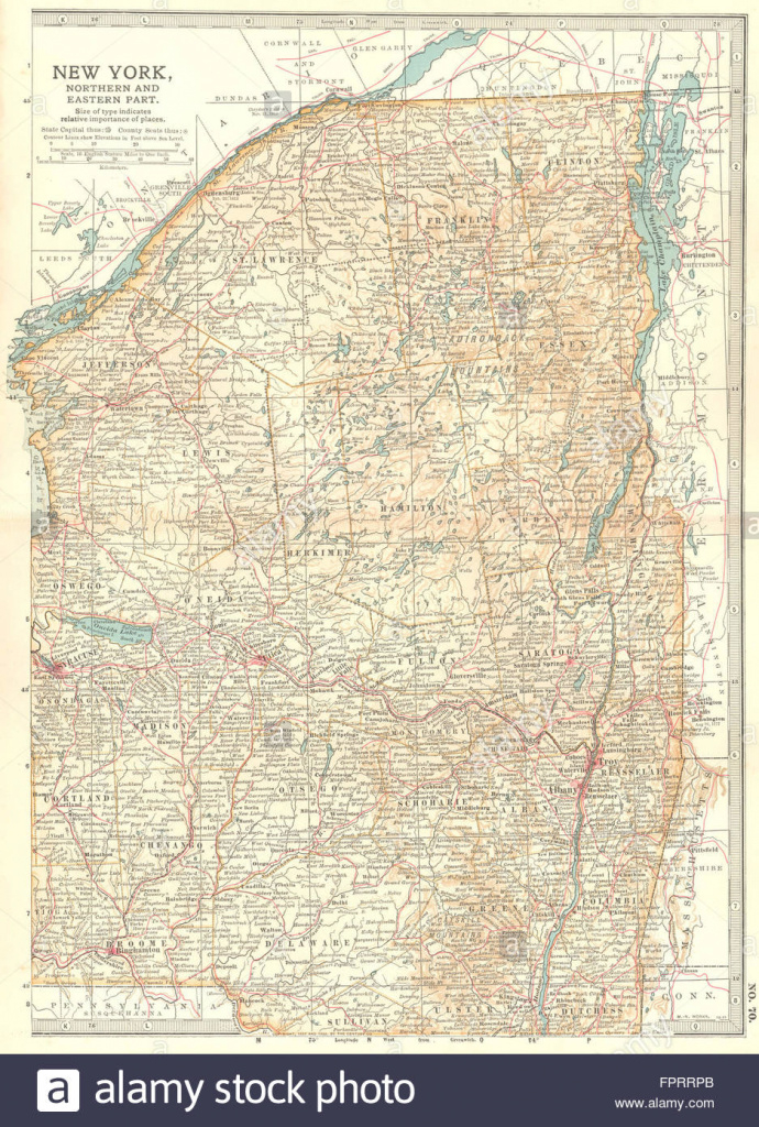 New York State:north/east W/ Revolutionary War/1812 War Stock Photo pertaining to New York State Revolutionary War Map