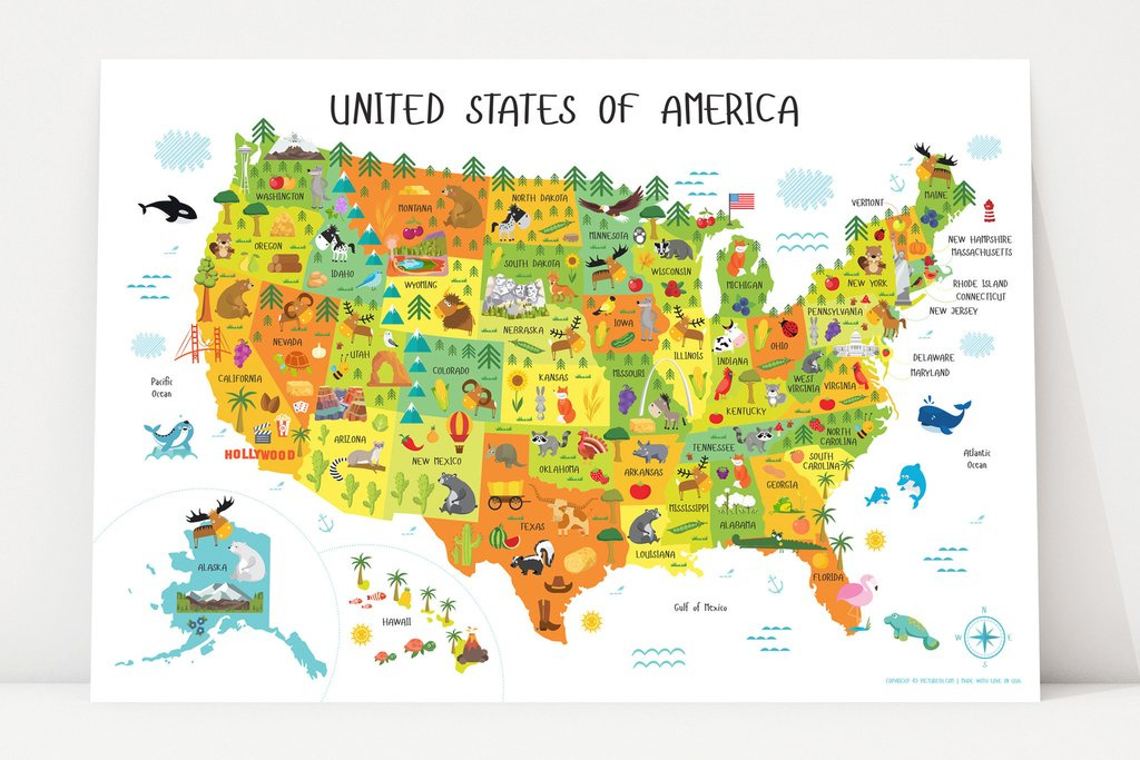 North America Map For Kids And Travel Information | Download Free inside State Map For Kids