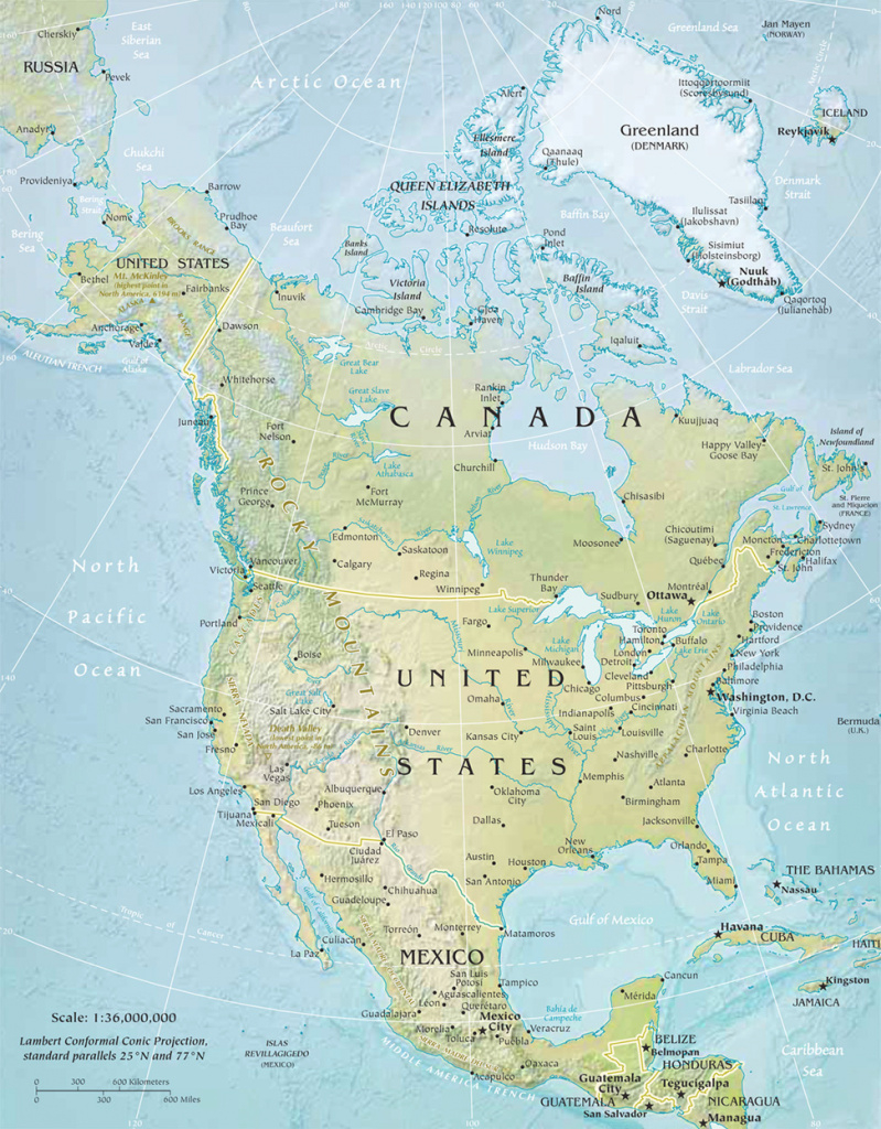 North America Physical Map intended for United States And Canada Physical Map