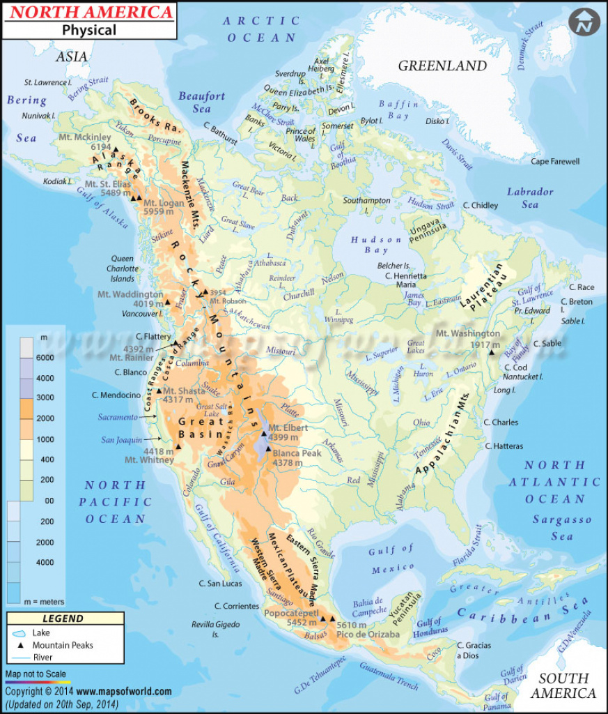 North America Physical Map   Physical Map Of North America regarding United States And Canada Physical Map