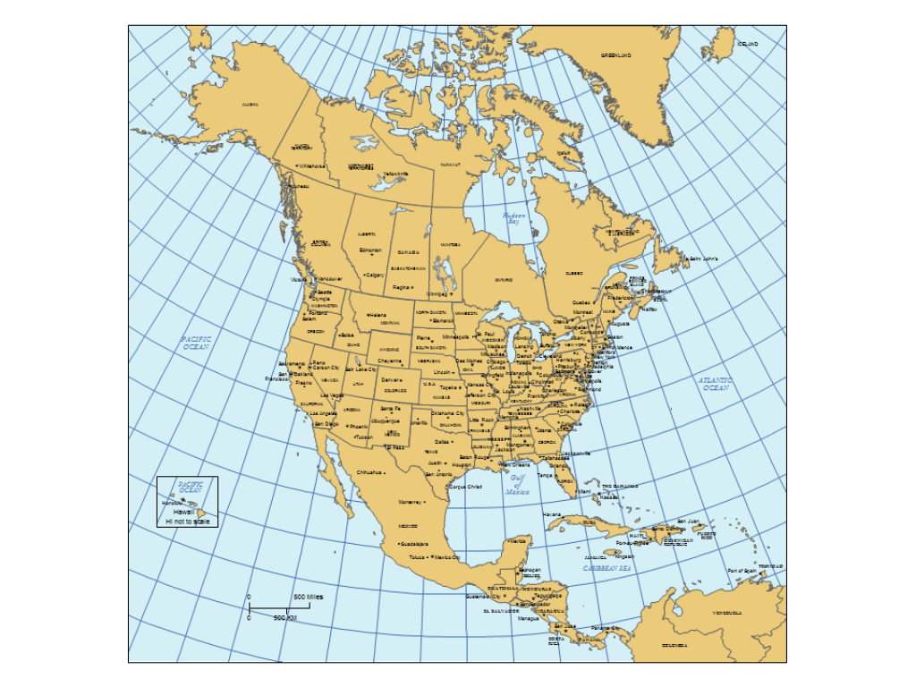North America Powerpoint Map W/countries, Provinces, States for North America Map With States And Capitals