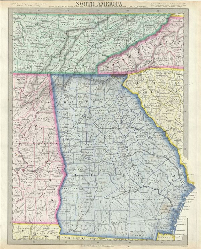 North America Sheet Xii. Georgia, With Parts Of North And South for Tennessee Alabama State Line Map