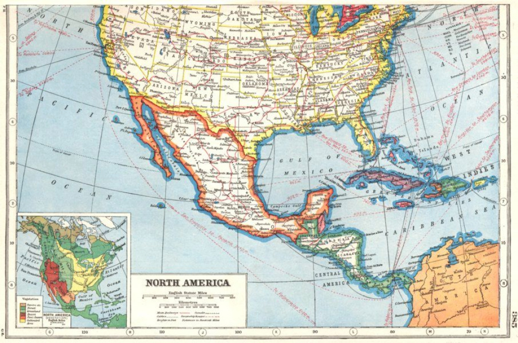 North America. Southern United States & Mexico Inset Vegetation 1920 within Mexico And The United States Map