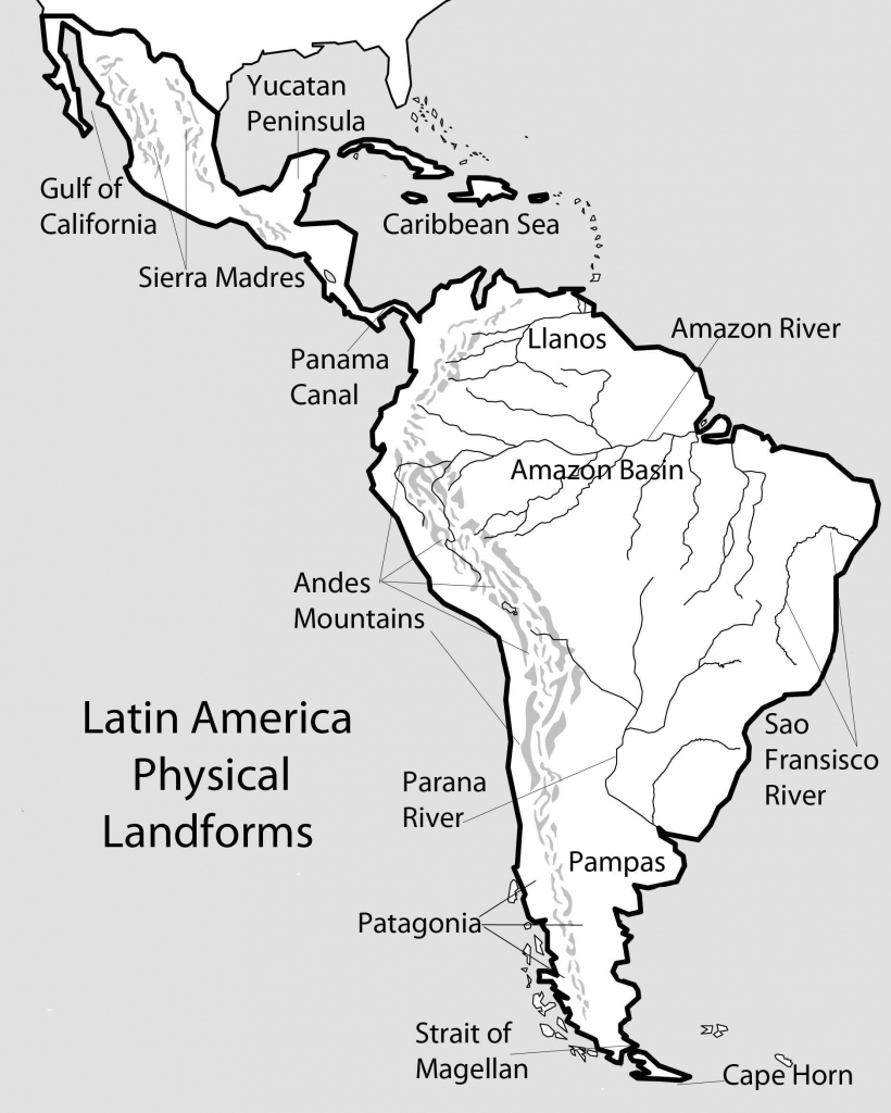 North And South America Physical Map Printable Blank Physical Map for Blank Physical Map Of The United States