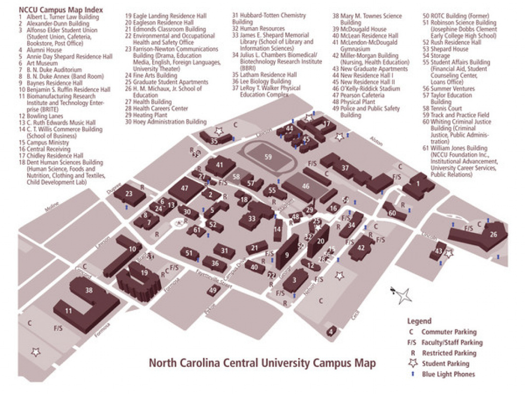 North Carolina Central University Campus Map - 1801 Fayetteville St inside Central State University Campus Map