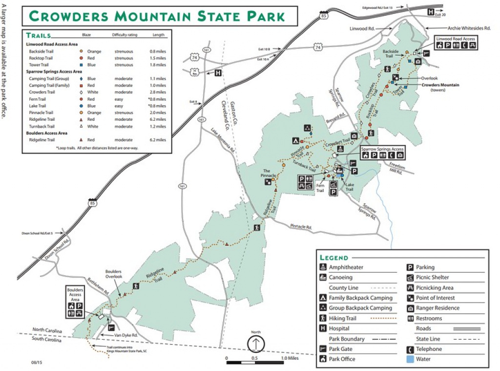 North Carolina State Park Maps - Dwhike throughout Crowders Mountain State Park Trail Map