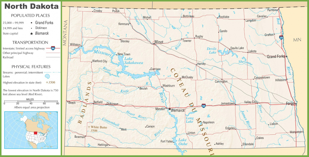 North Dakota Highway Map in North Dakota State Highway Map