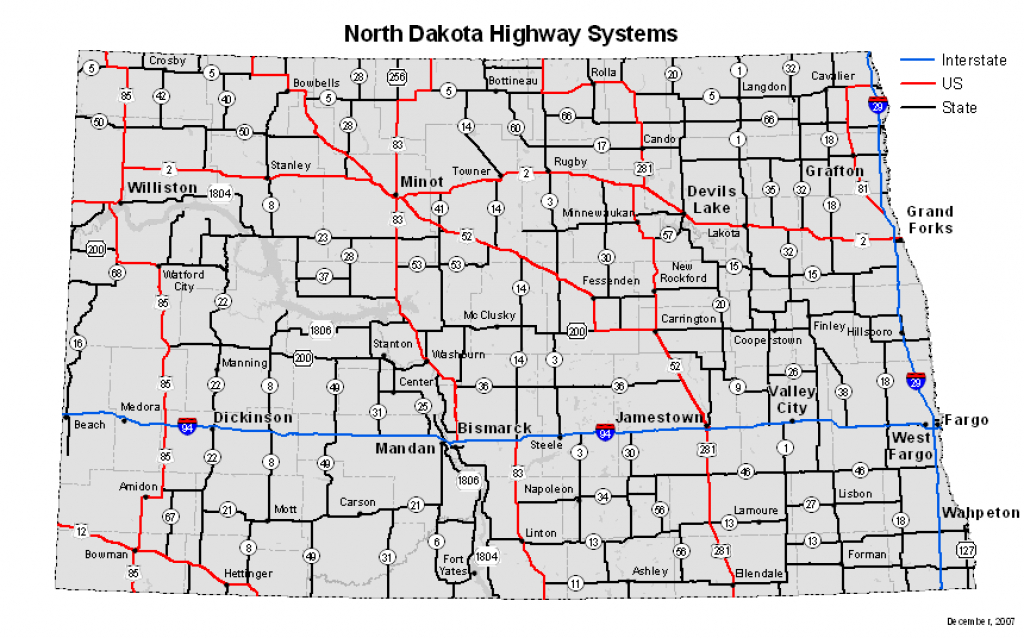 North Dakota Highway Systems regarding North Dakota State Highway Map