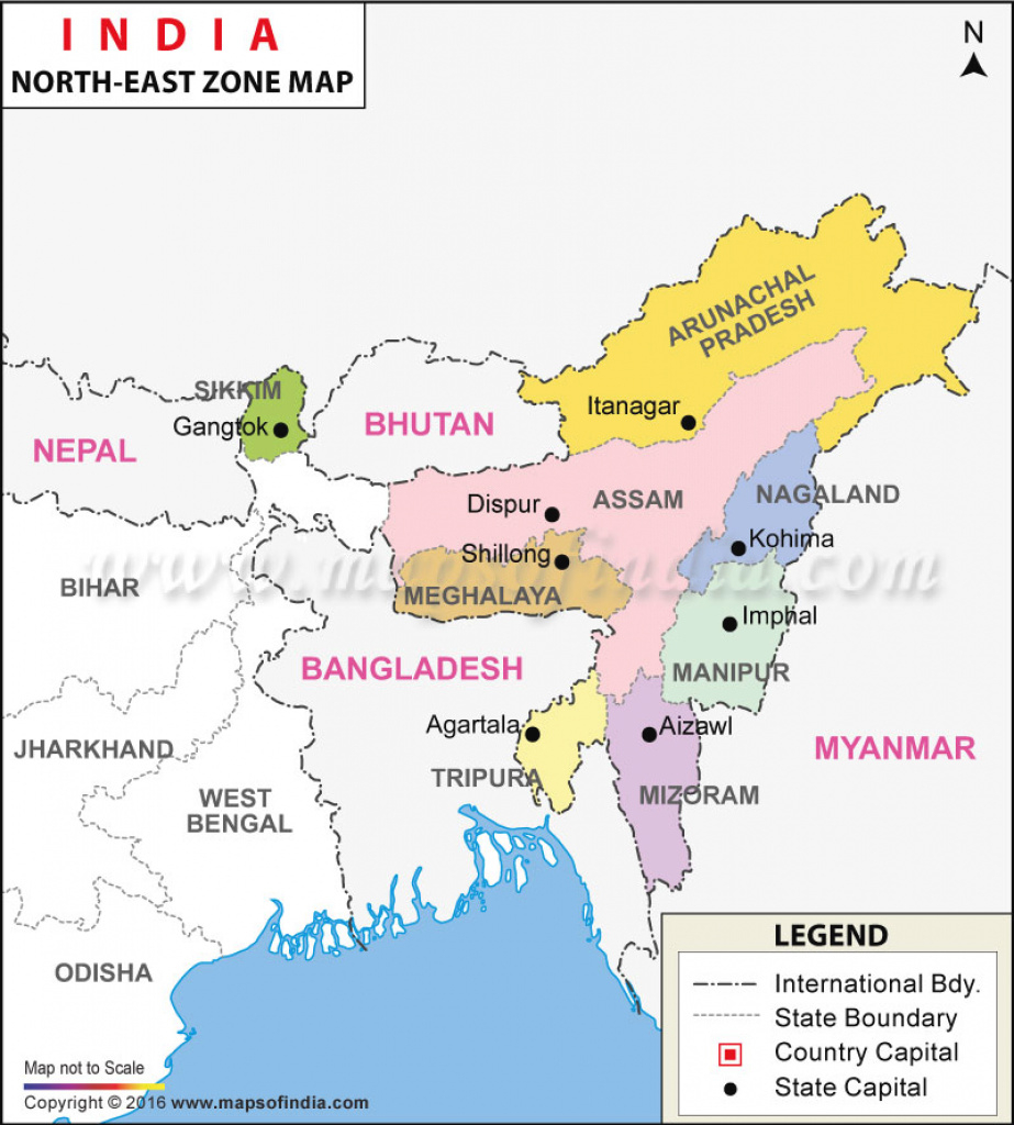 North-East India Map, Seven Sisters Of India throughout Northeast States And Capitals Map