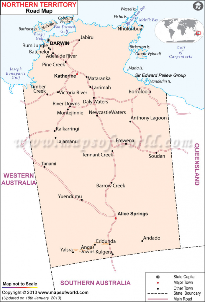 Northern Territory Road Map pertaining to Road Map Of Northern States