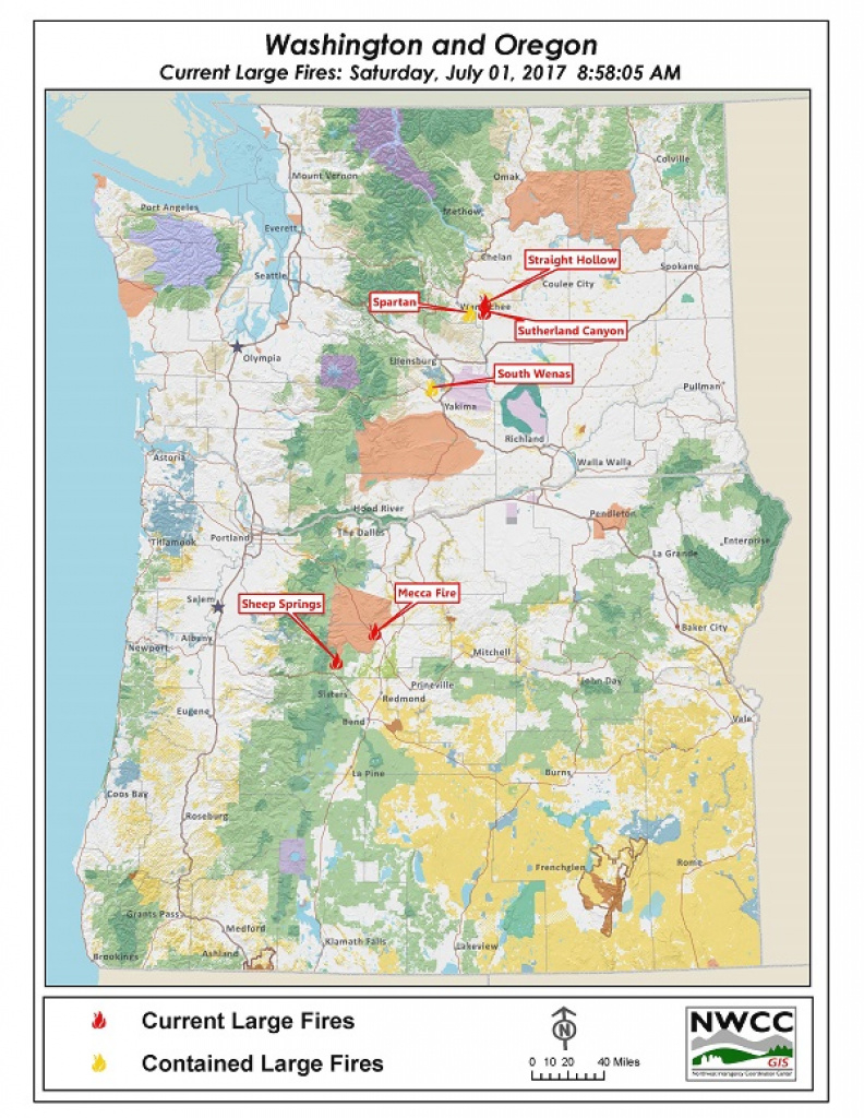 Northwest Interagency Coordination Center: 07/01/2017 Or/wa Large for Washington State Fire Map 2017