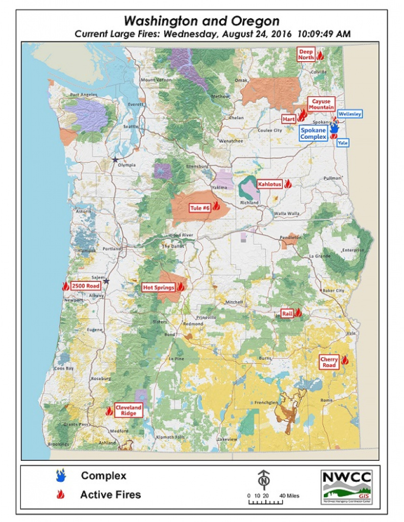 Northwest Interagency Coordination Center: 8/24/2016 Nw Large Fire Map inside Washington State Fire Map