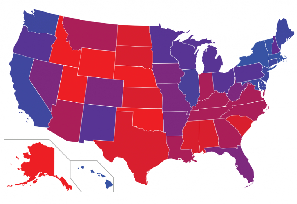 Not All States Are Red Or Blue: In Search Of The Purple States | Yougov pertaining to Red States Map 2015