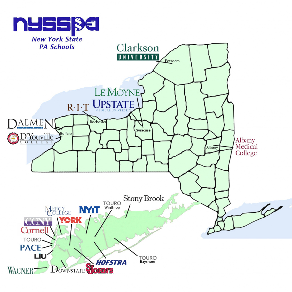 Ny State Pa Programs - New York State Society Of Physician Assistants within State University Of New York Map
