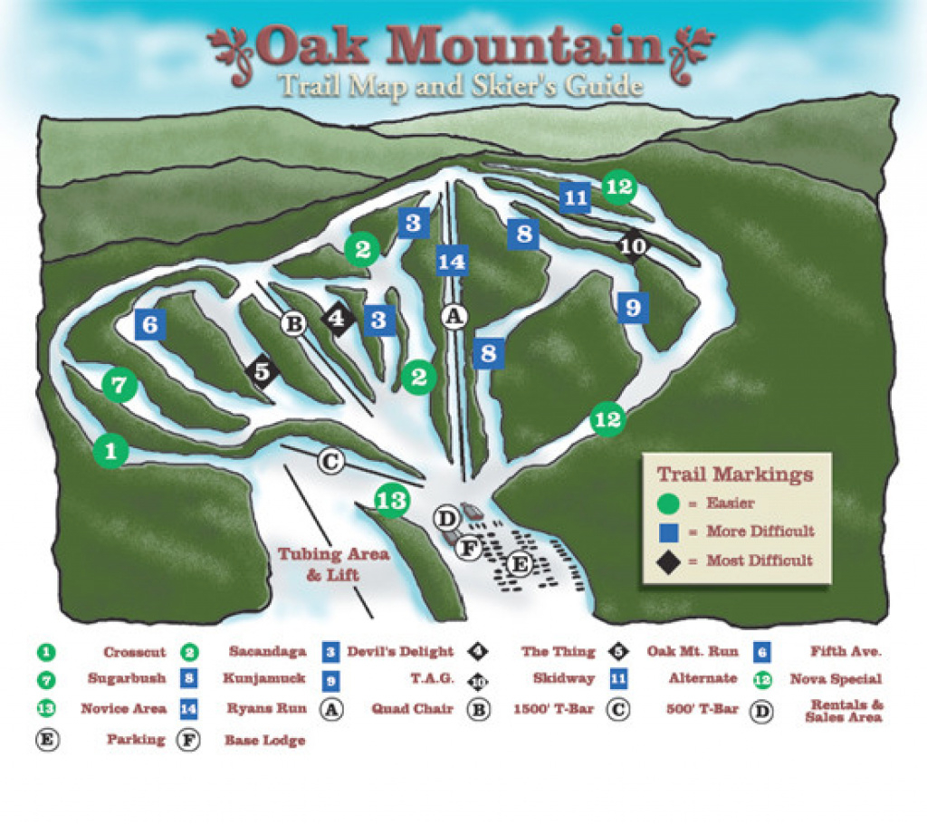 Oak Mountain Ski Center Ski Trail Map - Speculator New York United within Oak Mountain State Park Trail Map