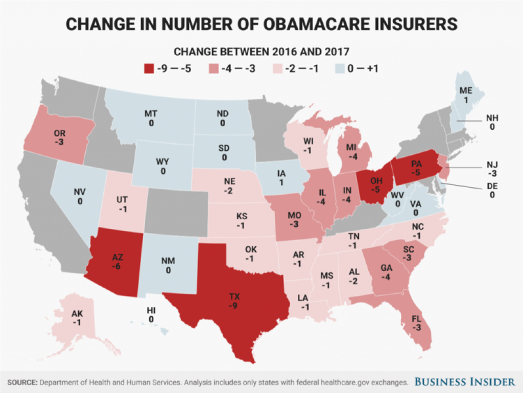Obamacare 2017 Insurer Exits From States Map - Business Insider within States With Exchanges Map