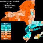 Oc] Median Annual Income Of The Tri State Area (New York, New Jersey Intended For New York Tri State Area Map