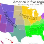 Oc] The Usa In Five Regions [1280×831] : Mapporn Inside United States Map Divided Into 5 Regions