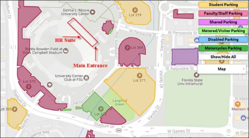 Office Of Human Resources throughout Florida State Parking Map