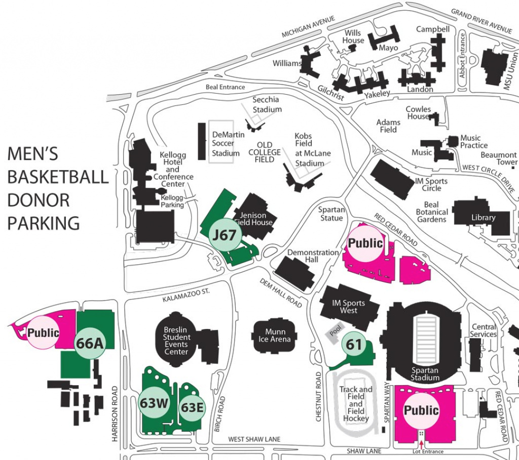 Official Athletic Site for Michigan State Football Parking Lot Map