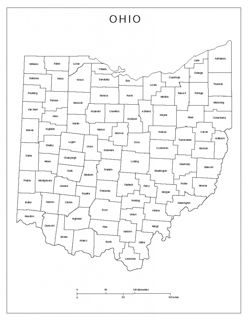Ohio Labeled Map within State Of Ohio Map Showing Counties