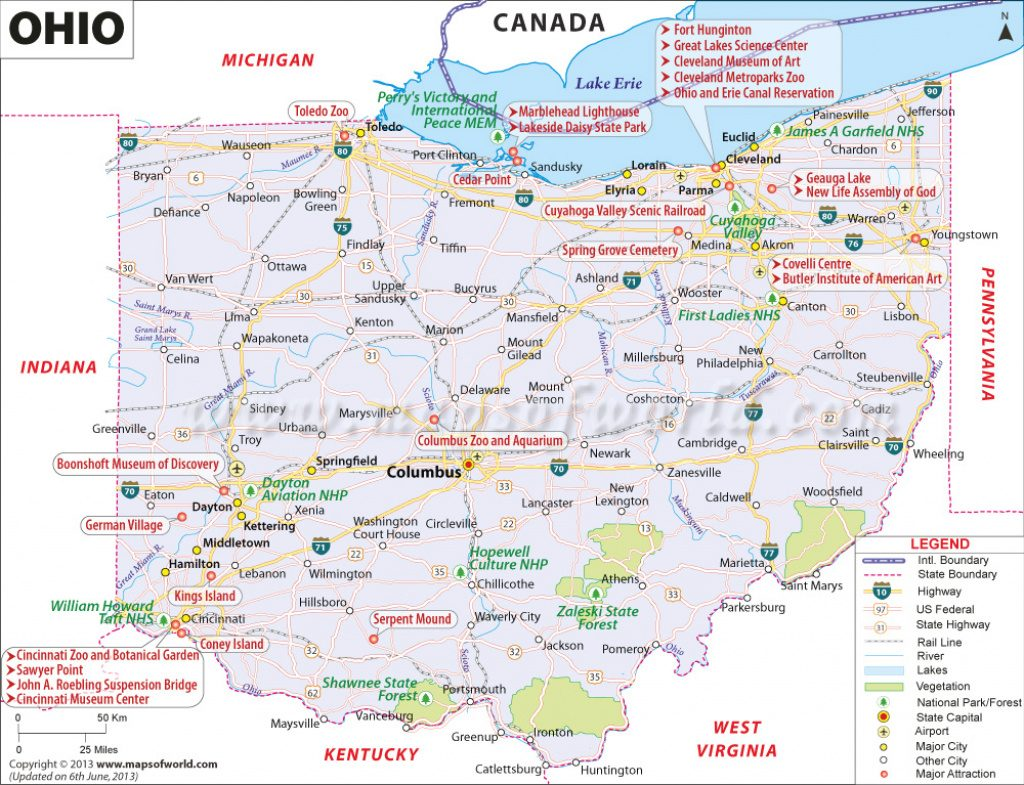 Ohio Map, Map Of Ohio Usa, Oh Map With Regard To Ohio State Road Map