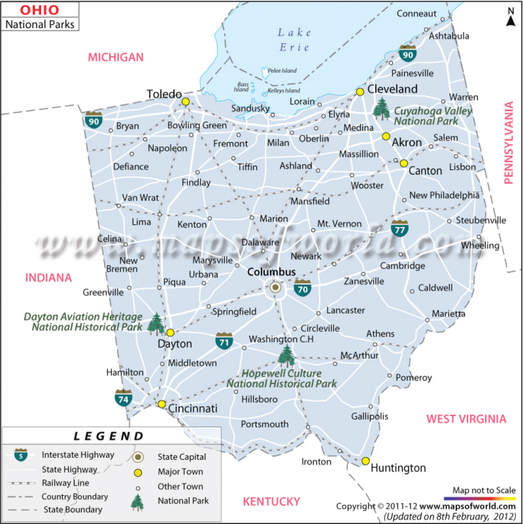 Ohio National Parks Map, List Of National Parks In Ohio for Ohio State Parks Map