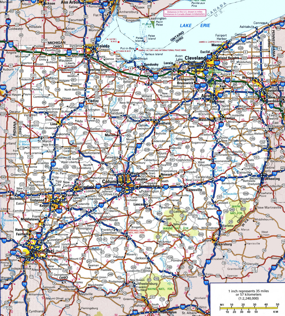 Ohio Road Map regarding Ohio State Road Map