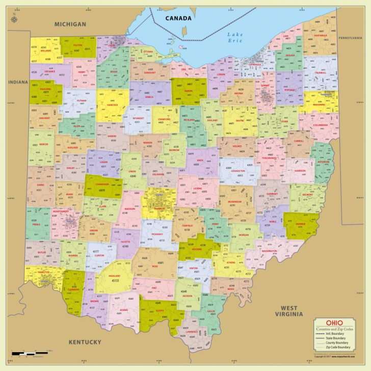 State Of Ohio Map Showing Counties