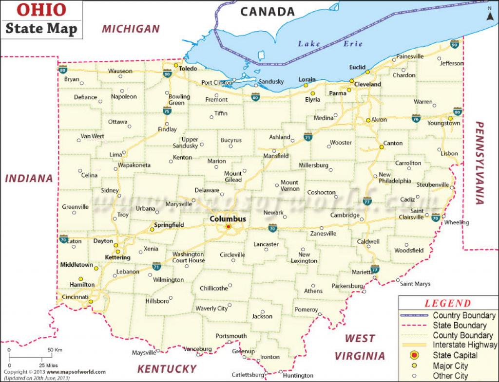 Ohio State Map within Ohio State Map Images
