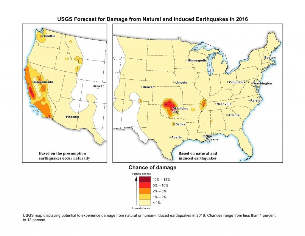 Oklahoma Has Highest Potential For Earthquakes, New Usgs Earthquake pertaining to Usgs Earthquake Map Washington State