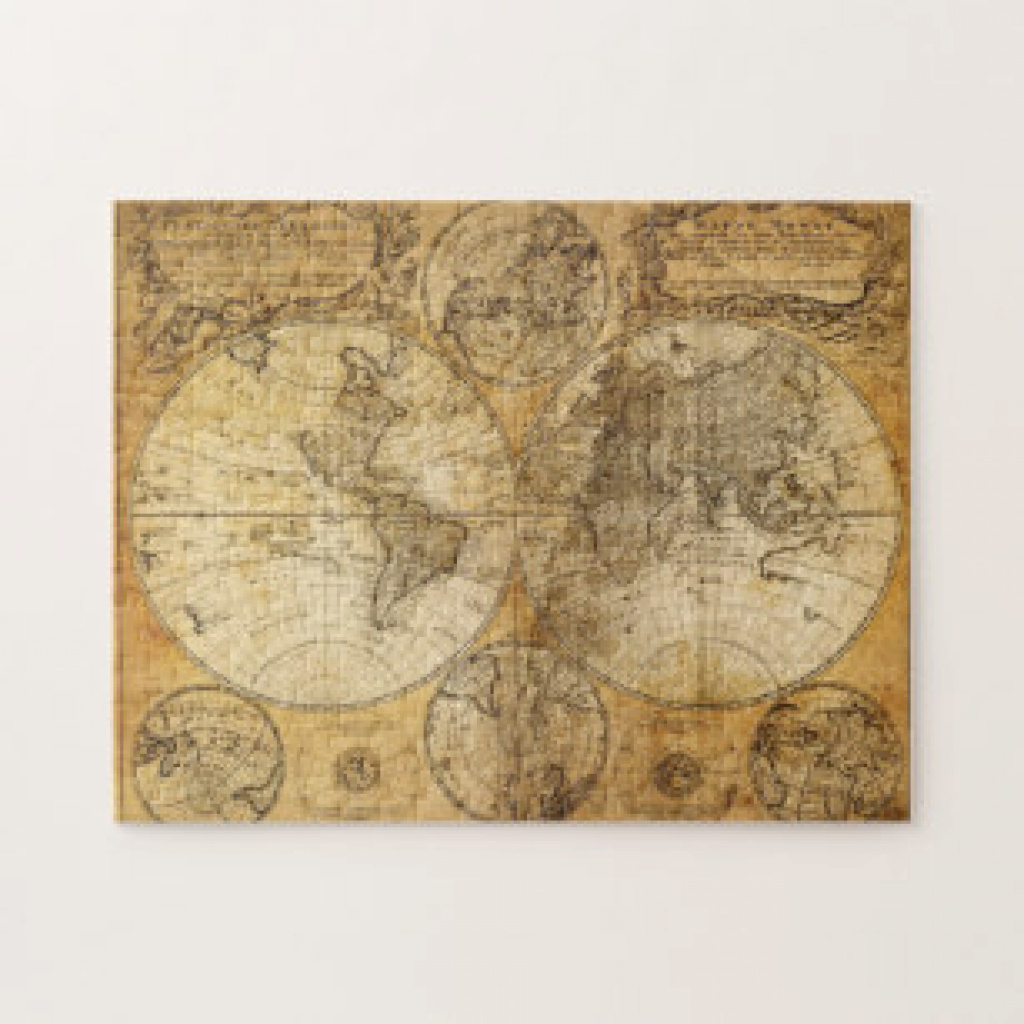 Old World Map Jigsaw Puzzles | Zazzle.co.uk inside United States Features Map Puzzle