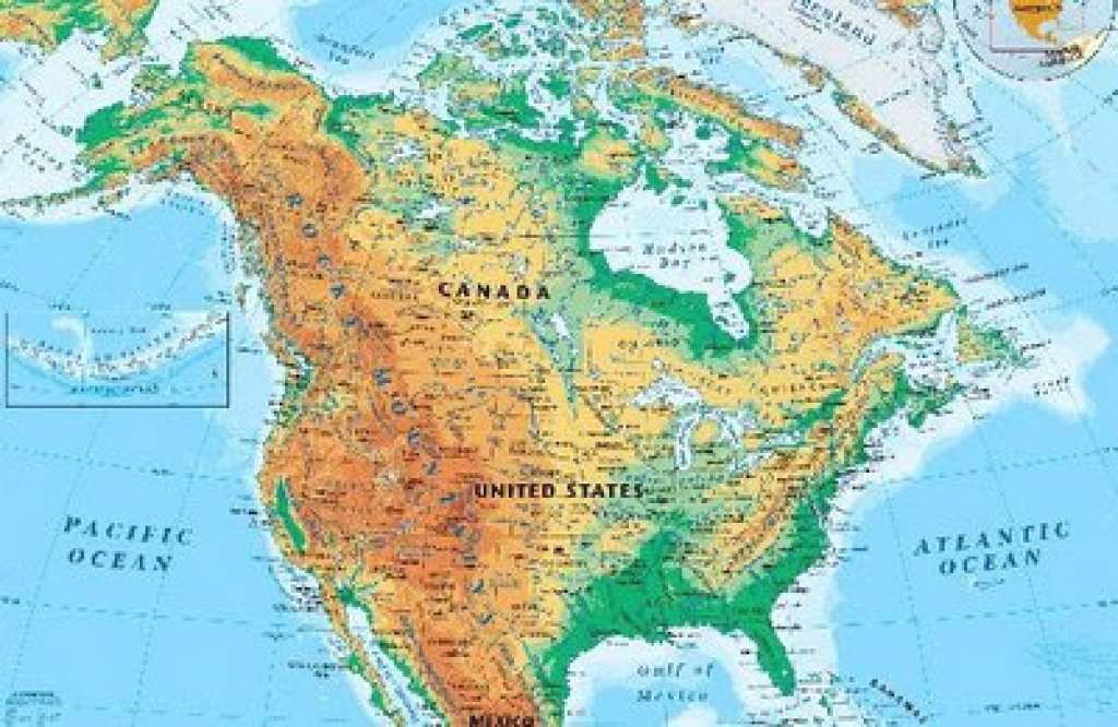 Online Maps: North America Physical Map throughout United States And Canada Physical Map