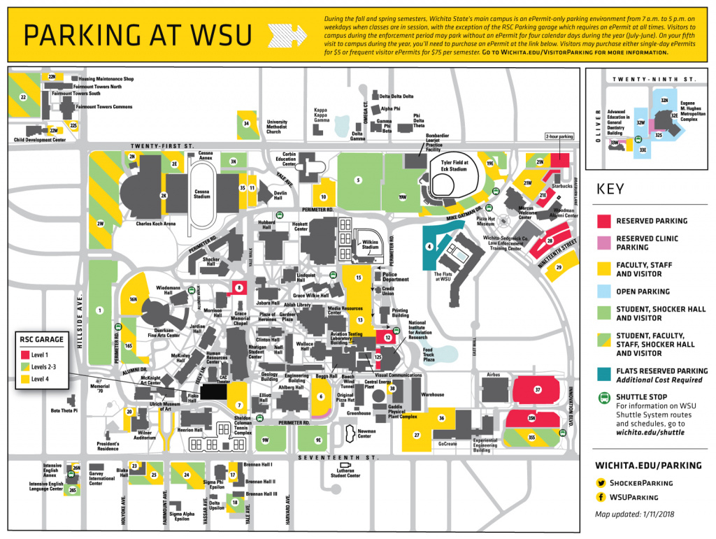Open House Visitor Information throughout Wichita State Parking Map