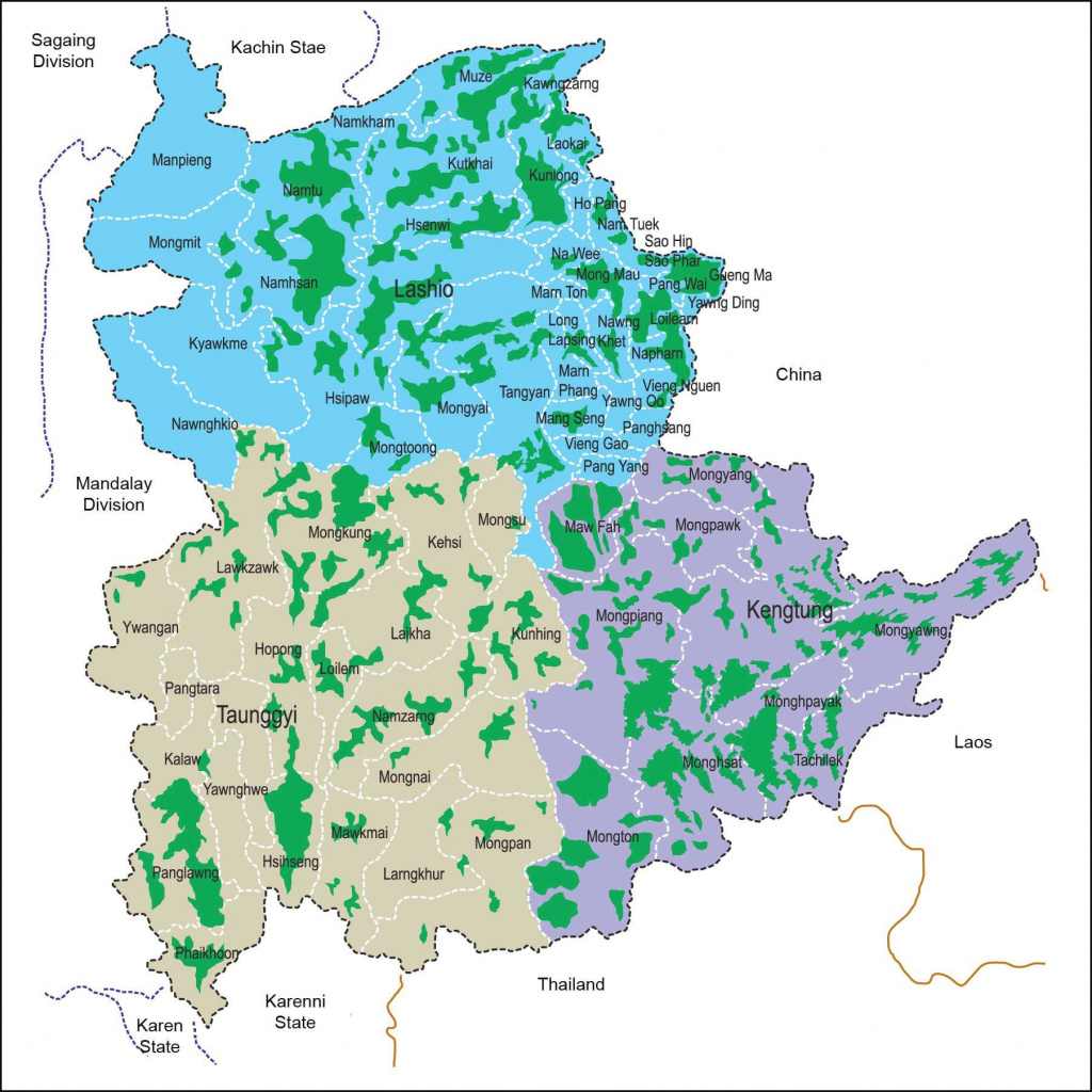 Opium Cultivation In Shan State, 2002-2003 [1803X1803] : Mapporn inside Eastern Shan State Map