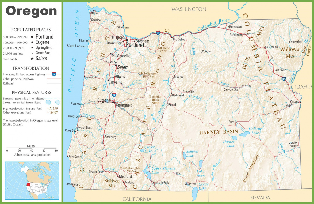 Oregon Highway Map within Oregon State Highway Map