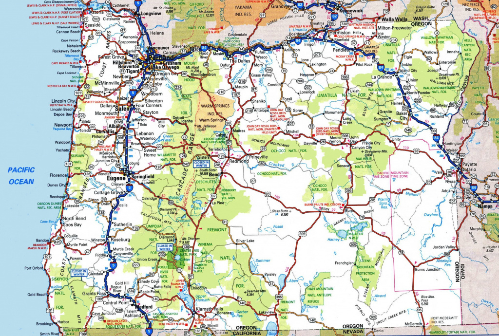 Oregon Road Map within Oregon State Highway Map