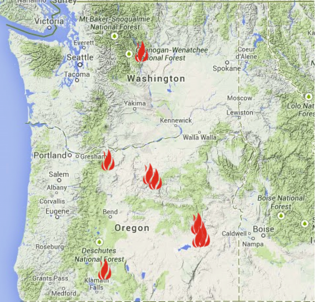 Oregon Smoke Information with regard to Washington State Fire Map