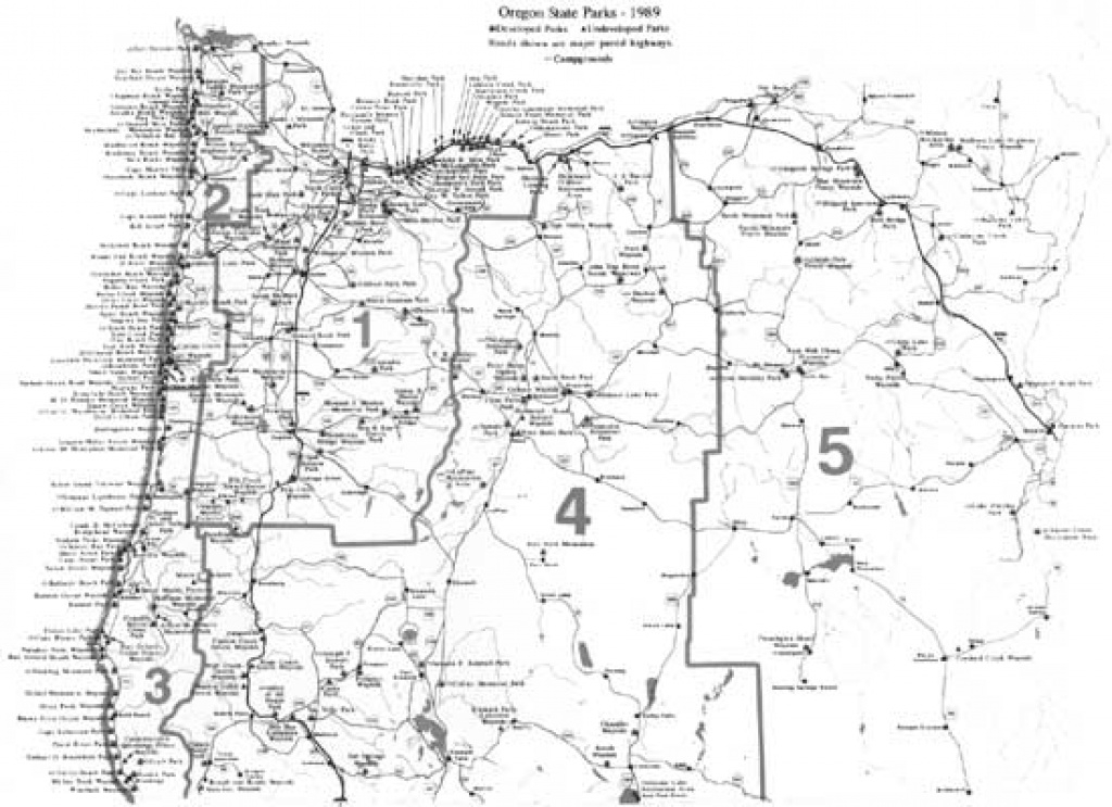 Oregon's Highway Park System: 1921-1989 — An Administrative History with regard to Oregon State Parks Map