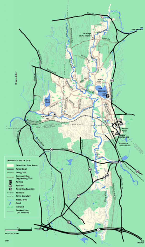 Otter River State Forest Winter Trail Map - Baldwinville Ma • Mappery with Townsend State Forest Trail Map