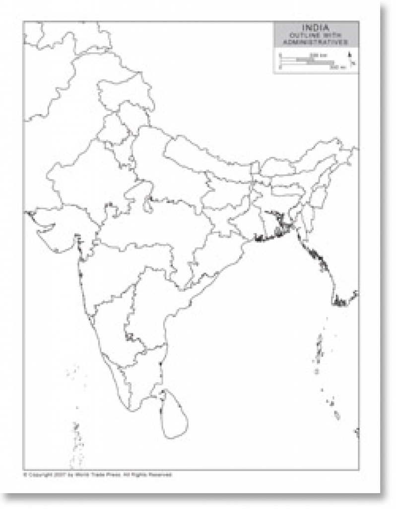 Outline Map Of India With Provincial/state Boundaries pertaining to India Blank Map With States Pdf