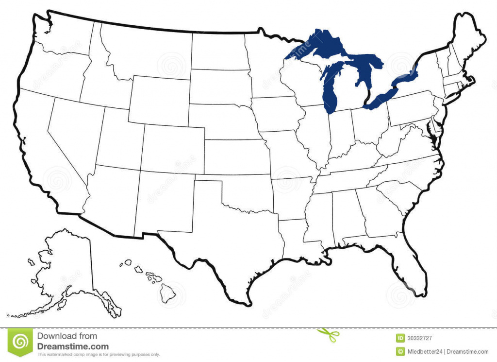 Outline Map Of United States Stock Illustration - Illustration Of within Great Lakes States Outline Map