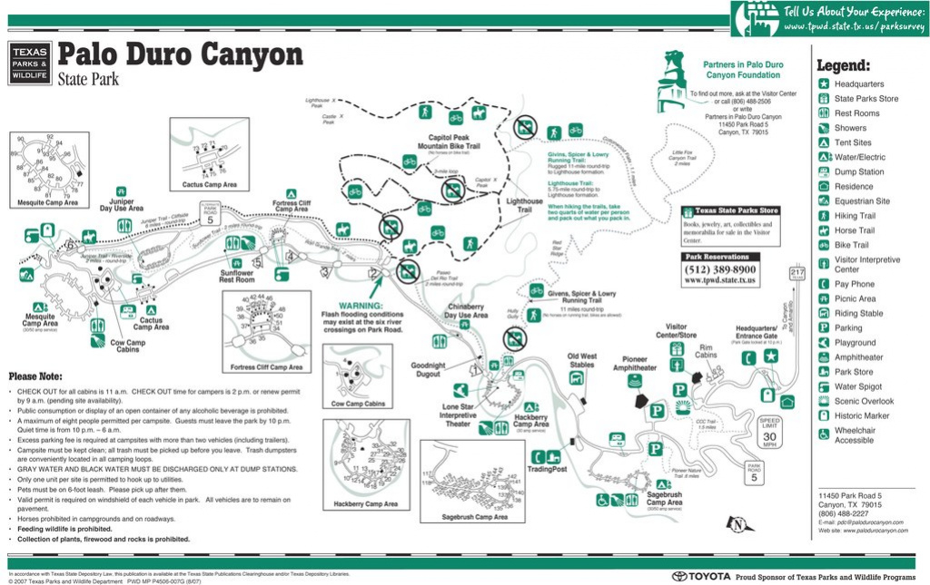 Palo Duro Canyon State Park - Maplets throughout Palo Duro Canyon State Park Trail Map