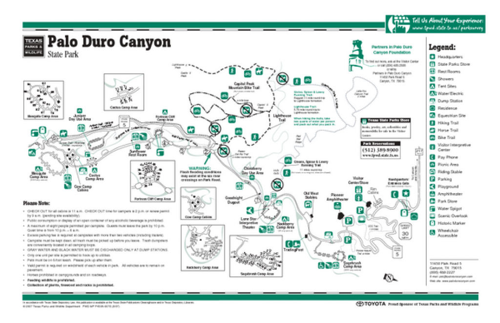 Palo Duro Texas State Park Facility And Trail Map - Palo Duro Texas throughout Palo Duro Canyon State Park Trail Map