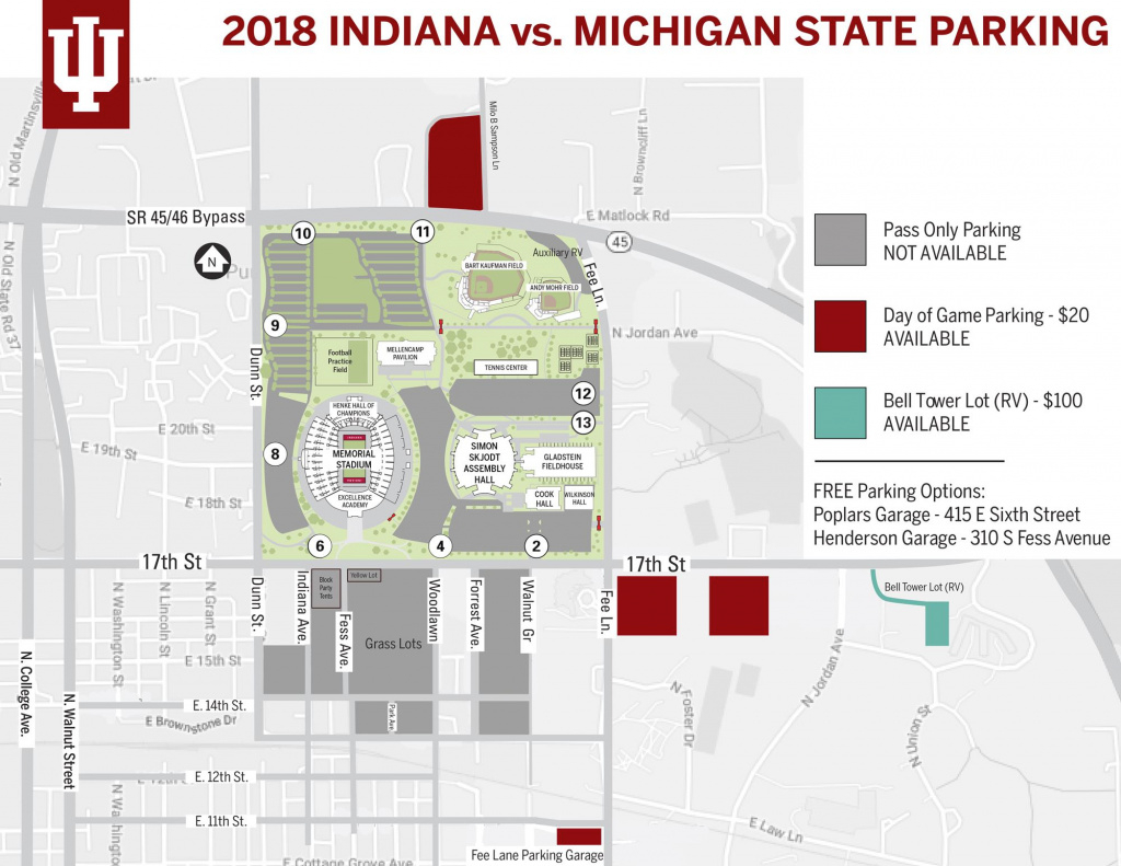 Parking Availability For Indiana-Michigan State - Indiana intended for Michigan State Football Parking Lot Map