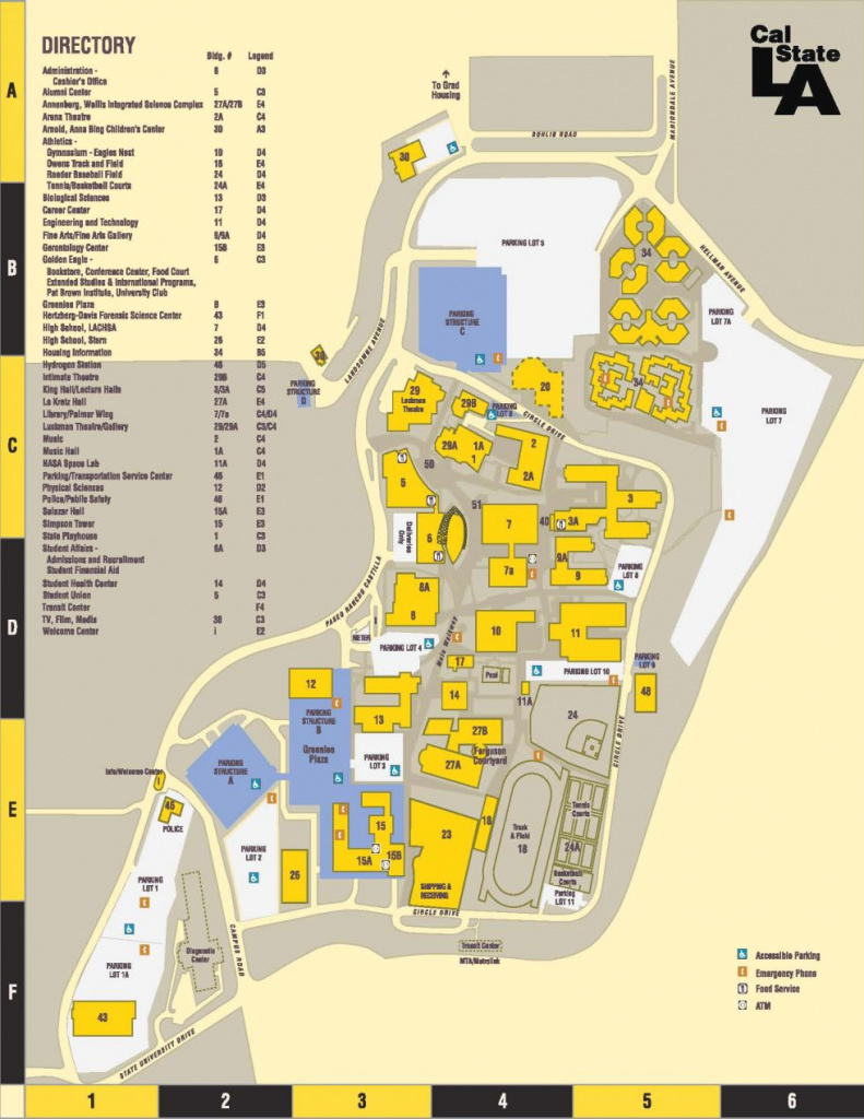Parking/directions/campus Map | Cal State La pertaining to California State University Map